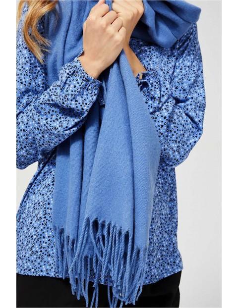 Stylowy szal damski  z frędzlami - niebieski
