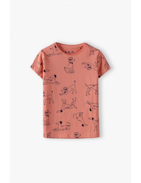 Bawełniana bluzka dziewczęca w pieski- t-shirt
