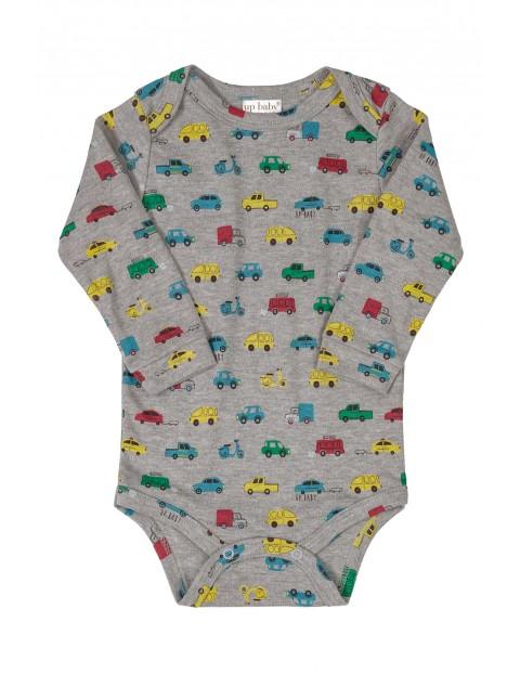 Body niemowlęce szare w kolorowe auta- długi rękaw