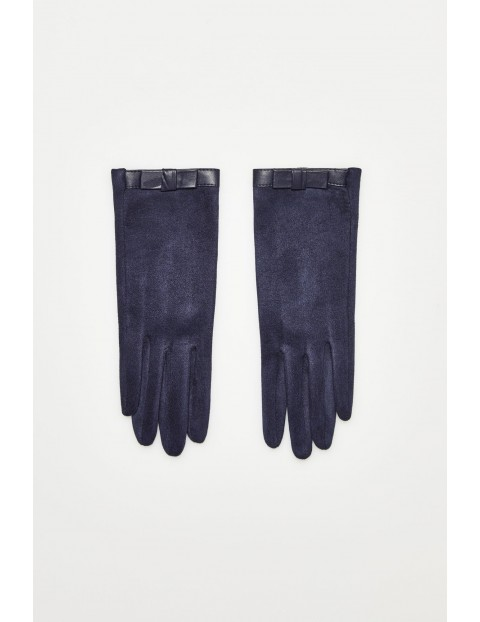 Rękawiczki z kokardką z eko skóry - granatowe