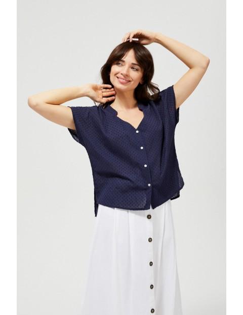 Koszula damska bawełniana z krótkim rękawem granatowa