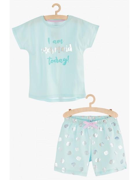 Pidżama dziewczęca morskie motywy- niebieska