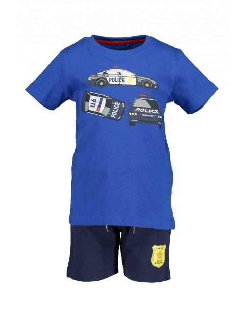 Komplet chłopięcy Police - niebieski t-shirt i spodenki