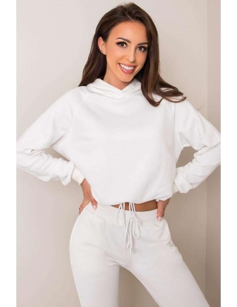 BASIC Komplet dresowy damski - bluza z kapturem i spodnie dresowe- ecru