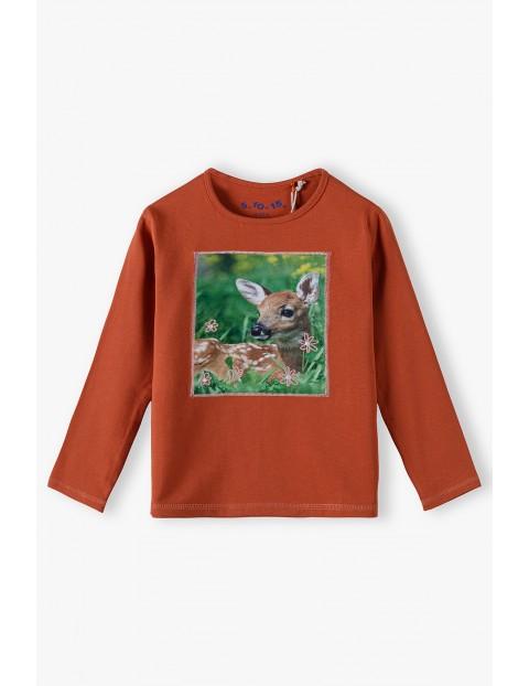 Bawełniana pomarańczowa bluzka z sarenką