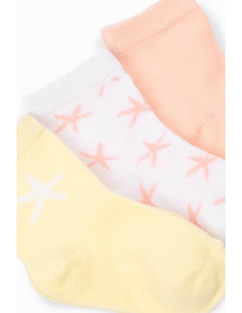 Skarpetki niemowlęce 3 pak we wzorki - wielokolorowe