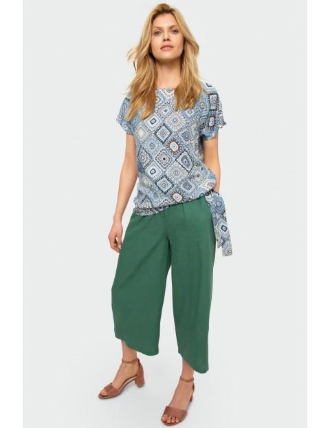 Wiskozowa bluzka z nadrukiem, krótki rękaw, wiązanie na dole