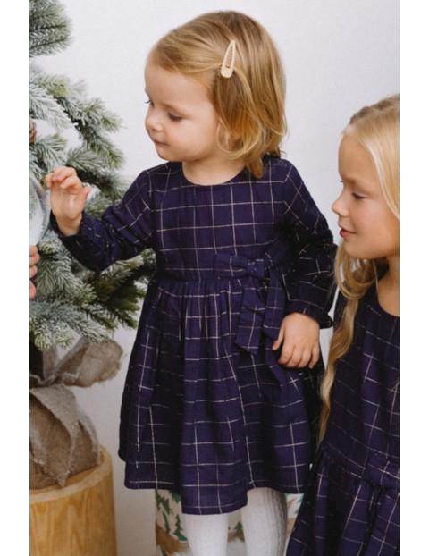 Elegancka świąteczna sukienka dla dziewczynki- granatowa w kratę