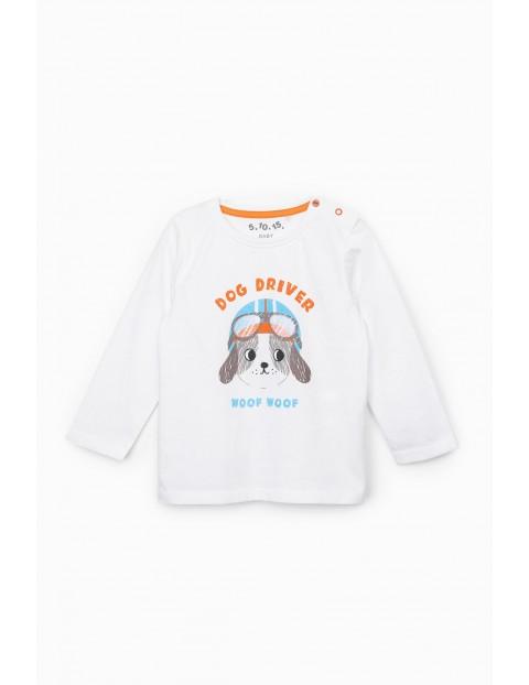 Biała bluzka niemowlęca z długim rękawem i nadrukiem