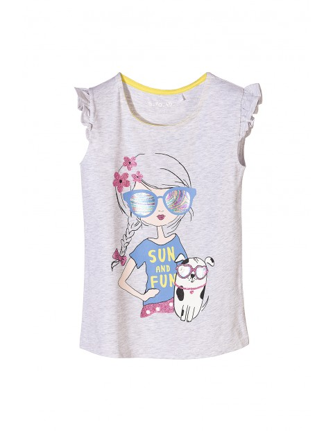 T-shirt dzianinowy dla dziewczynki