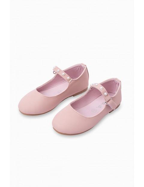 Balerinki  dziecięce - różowe z perełkami