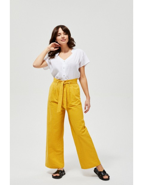 Spodnie typu kuloty żółte