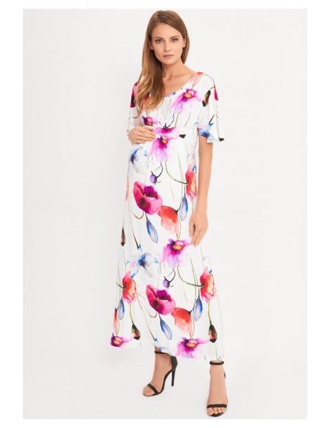 Sukienka ciążowa Maxi w różowe kwiaty
