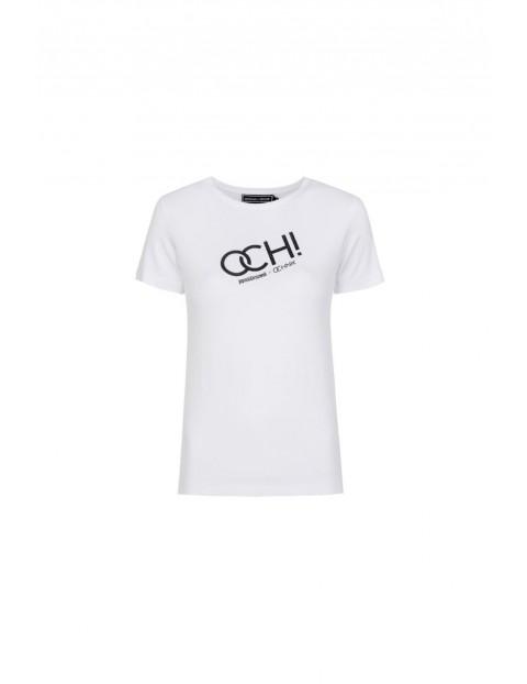 T-shirt damski biały z nadrukiem Ochnik