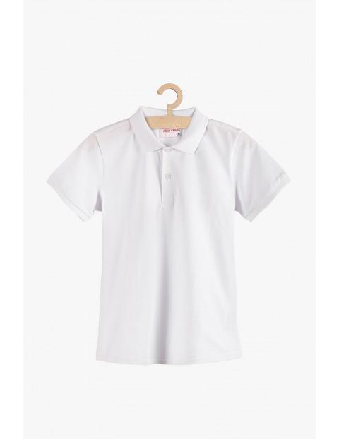 T-shirt chłopięcy z kołnierzykiem - biały