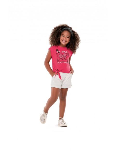 Komplet dziewczęcy różowy t-shirt i białe spodenki