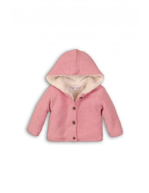 Sweter dziecięcy rozpinany z kapturem różowy