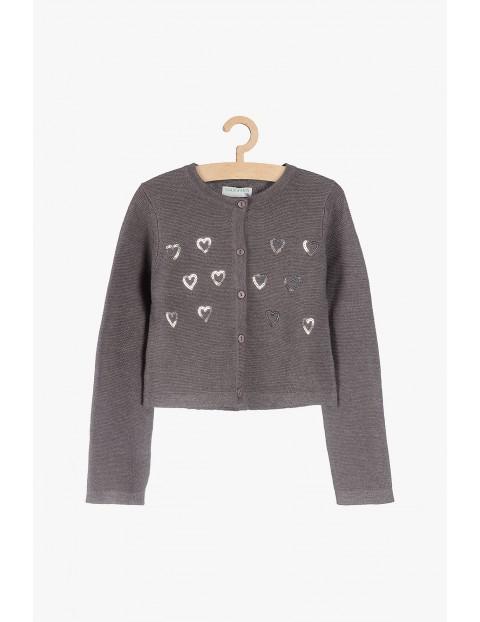 Sweter dziewczęcy z cekinowymi serduszkami