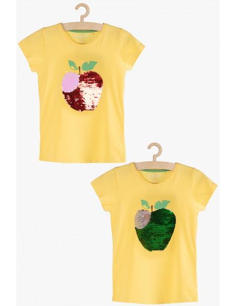 T-shirt dziewczęcy żółty z dwustronnymi cekinami