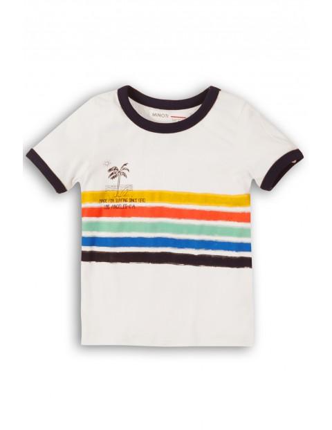 T-Shirt niemowlęcy biały z kolorowymi paskami