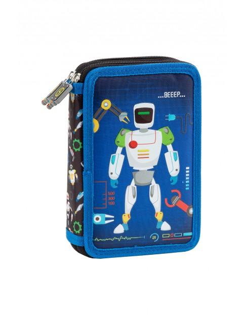 Piórnik z wyposażeniem dwukomorowy ROBOTY nebieski