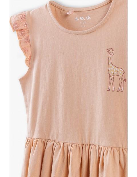 Sukienka bawełniana z żyrafą - różowa
