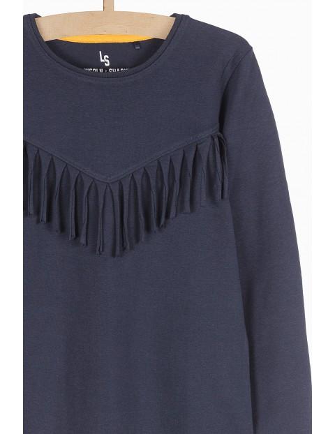 Granatowa bluzka z długim rękawem- ozdobne frędzle