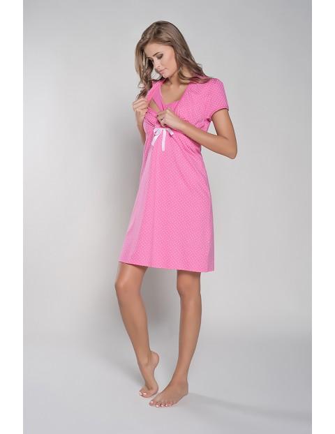 Koszula nocna dla karmiącej mamy RADOŚĆ krótki rękawek - różowa