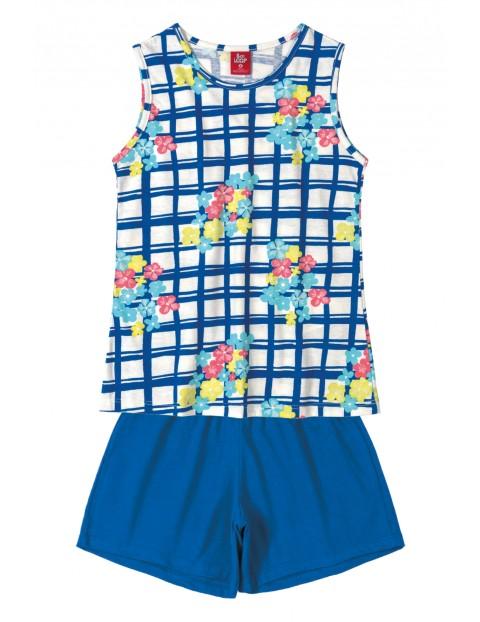 Komplet dziewczęcy koszulka w kratkę i niebieskie spodenki