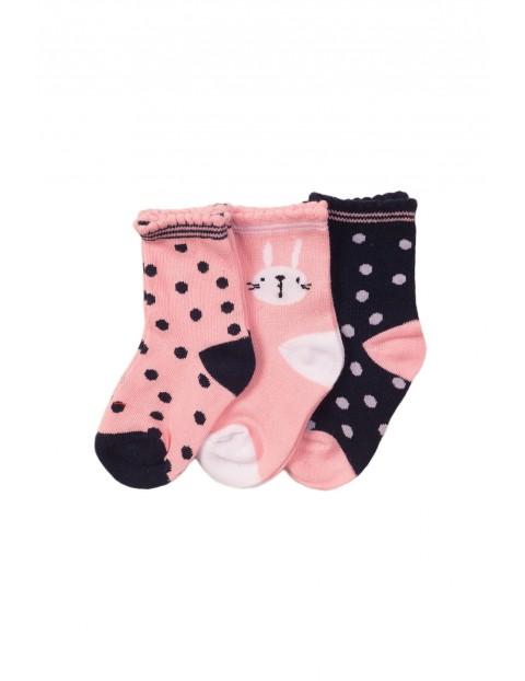 3 pak skarpetki niemowlęce- różowo-granatowe rozm 80/92