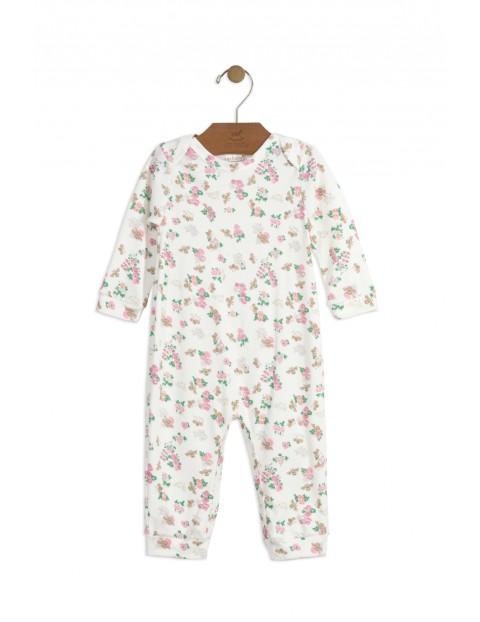 Pajac niemowlęcy bawełniany w kolorowe kwiaty
