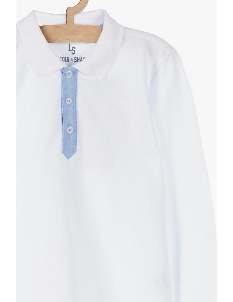 Biała bluzka z kołnierzykiem- długi rękaw