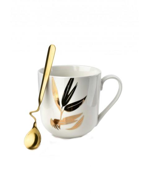 Kubek porcelanowy biały ze złotą łyżeczką LOLA 550ml
