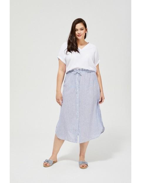 Damska spódnica z domieszką lnu z ozdobnym wiązaniem niebieska