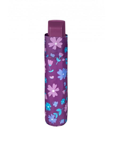 Parasol manualny średnica 96cm- fioletowy w kwiaty