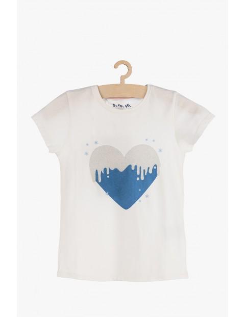 T-shirt dziewczęcy z brokatowym nadrukiem