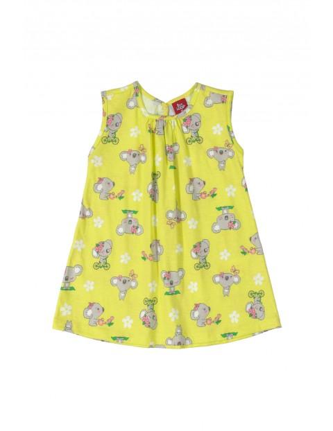 Sukienka dziecięca w misie koala - żółta
