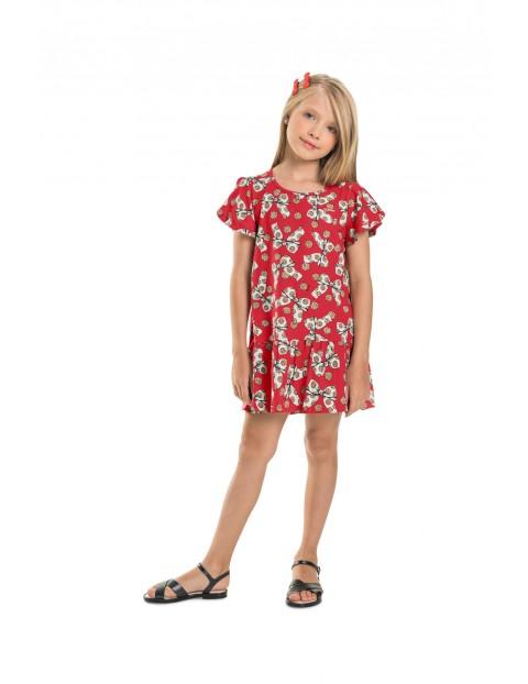 Czerwona sukienka dziewczęca w kokardki