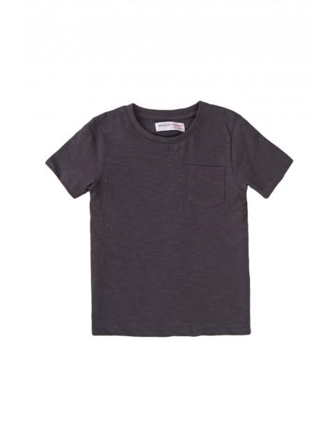 T-shirt chłopięcy bawełniany w kolorze grafitowym