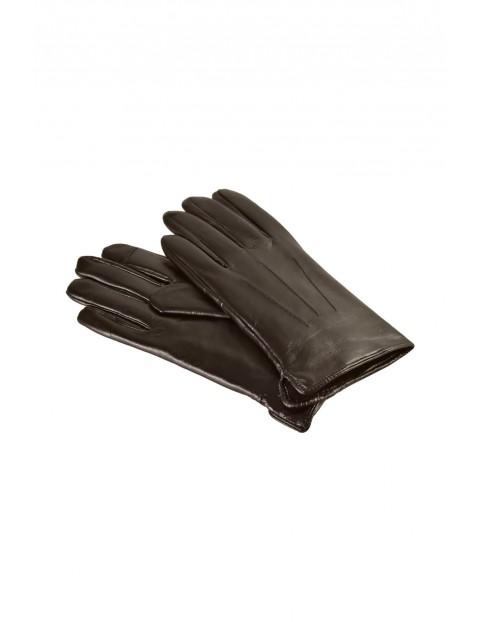 Rękawiczki męskie skórzane antybakteryjne - brązowe