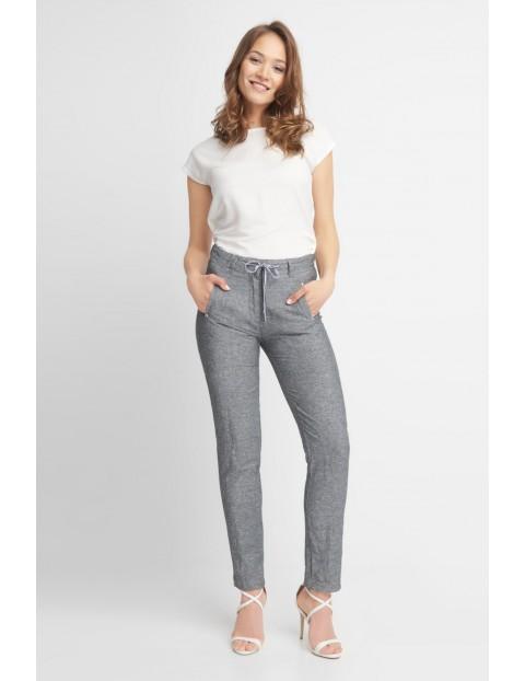 Szare spodnie damskie z domieszką lnu