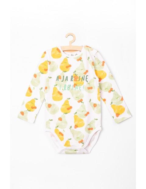 Body niemowlęce z długim rękawem dla dziewczynki w owoce