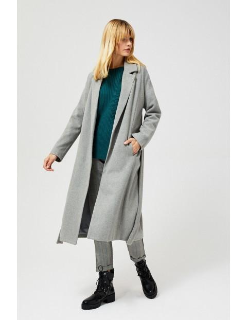 Szary długio płaszcz damski z wiązaniem w talii