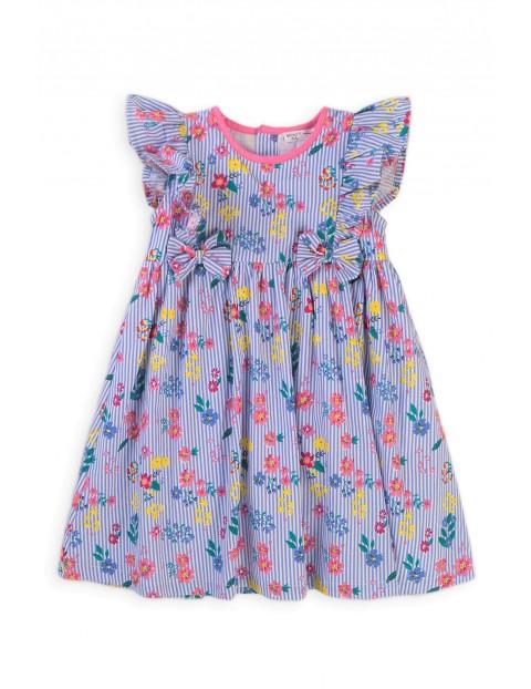 Bawełniana sukienka dziewczęca w kwiecisty wzór