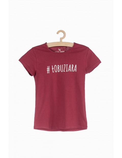 T-shirt dziewczęcy bordowy - #Łobuziara