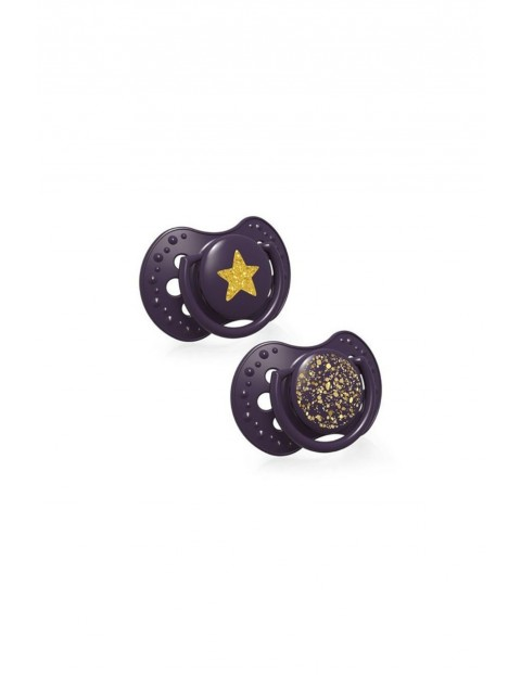 LOVI Smoczek silikonowy dynamiczny Stardust- fioletowy 6-18m 2 szt