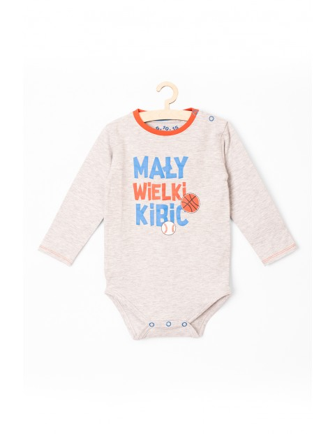 """Body niemowlęce szare z długim rękawem """"Mały wielki kibic"""""""
