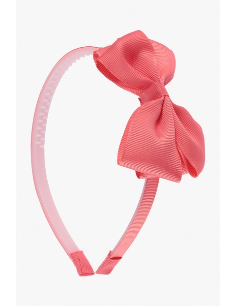 Opaska do włosów różowa z kokardą