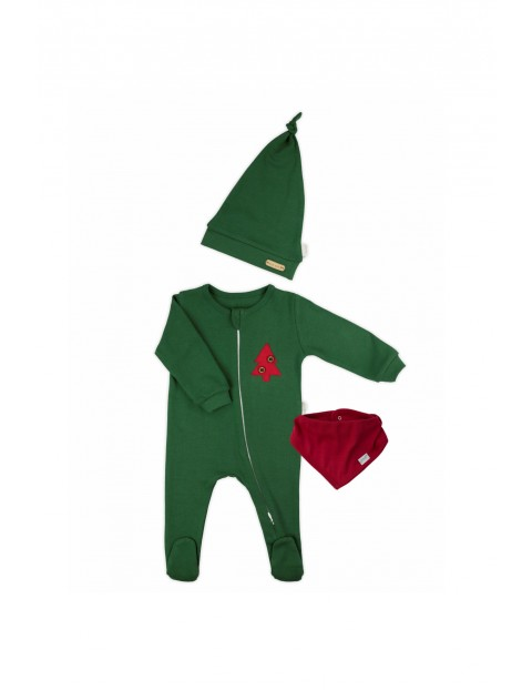 Komplet świąteczny niemowlęcy czapka, apaszka, pajac - zielony