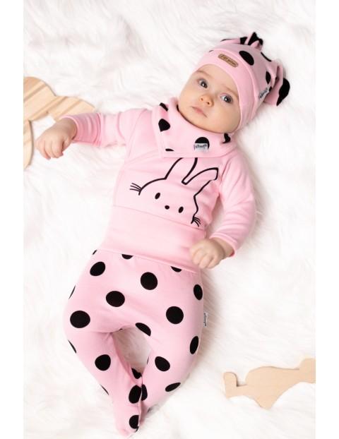 Bawełniana chustka niemowlęca w grochy- różowa